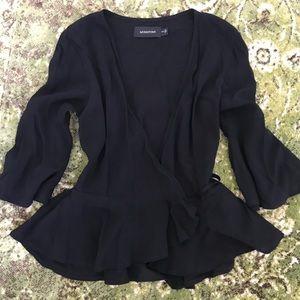 MINKPINK black peplum wrap blouse, S